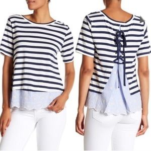 Sanctuary Shorts sleeve stripe Top
